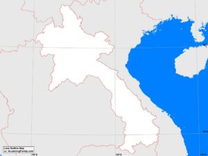 Laos outline map (cc: A Learning Family).