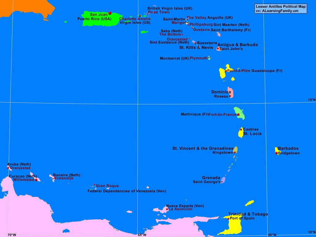 Lesser Antilles Political Map A Learning Family