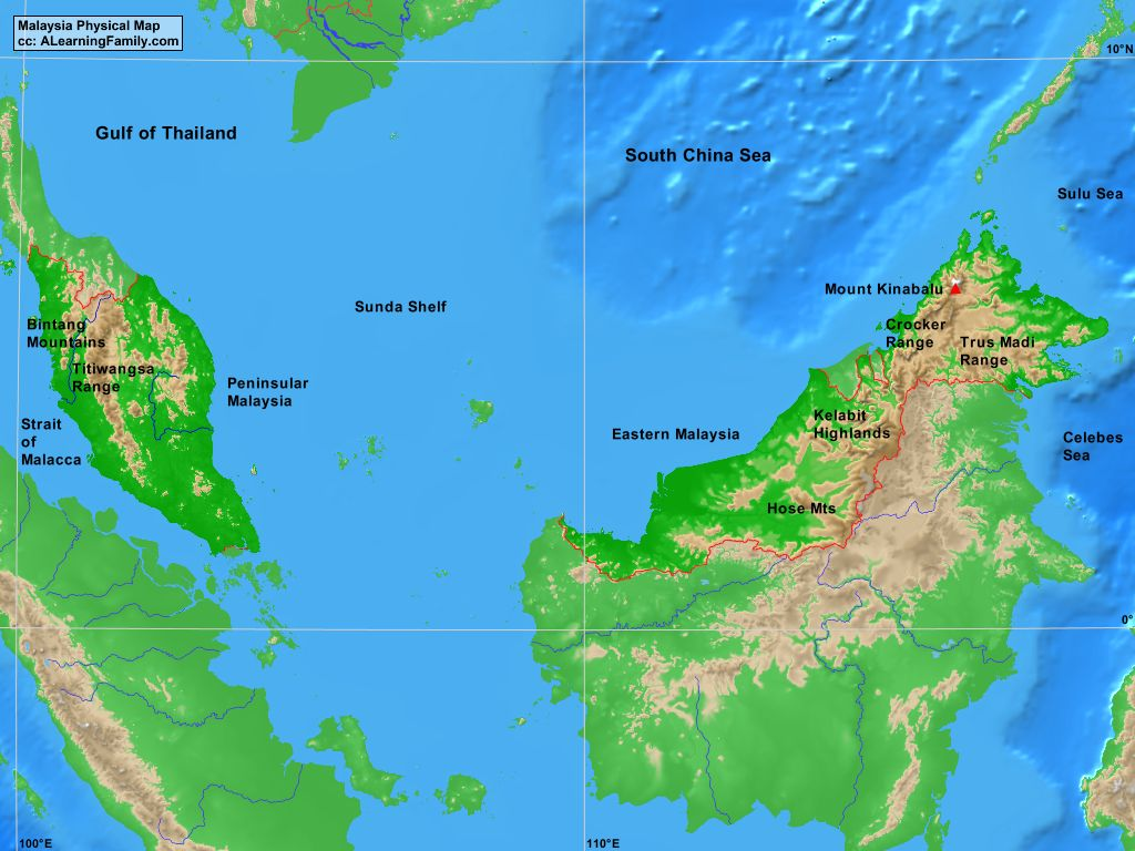 Malaysia Physical Map A Learning Family
