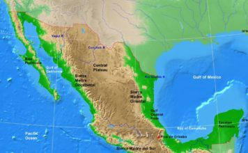 Mexico physical map (cc: A Learning Family).
