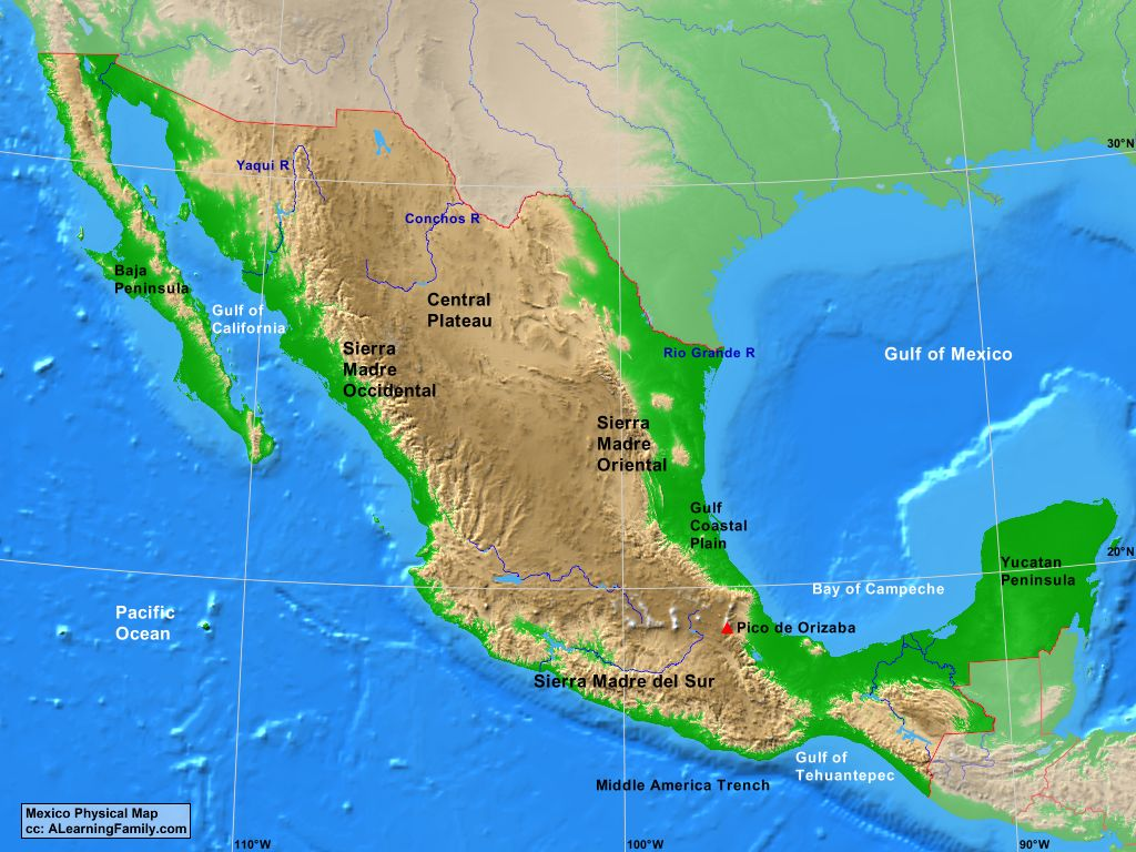 Mexico Physical Map - A Learning Family