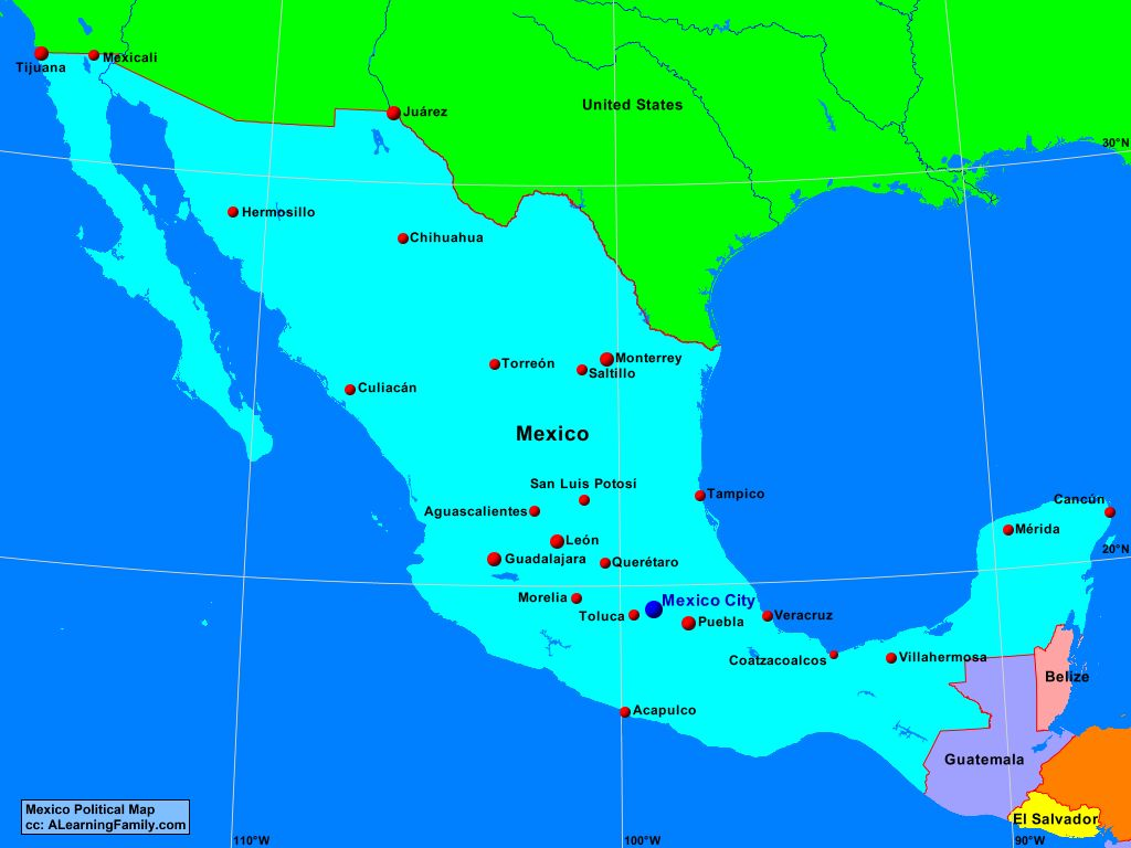 Mexico Political Map A Learning Family