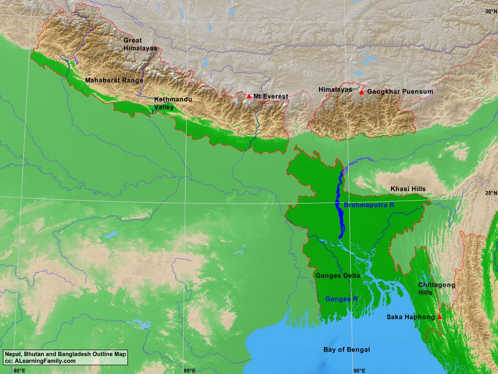 Bangladesh Bhutan and Nepal Physical Map A Learning Family
