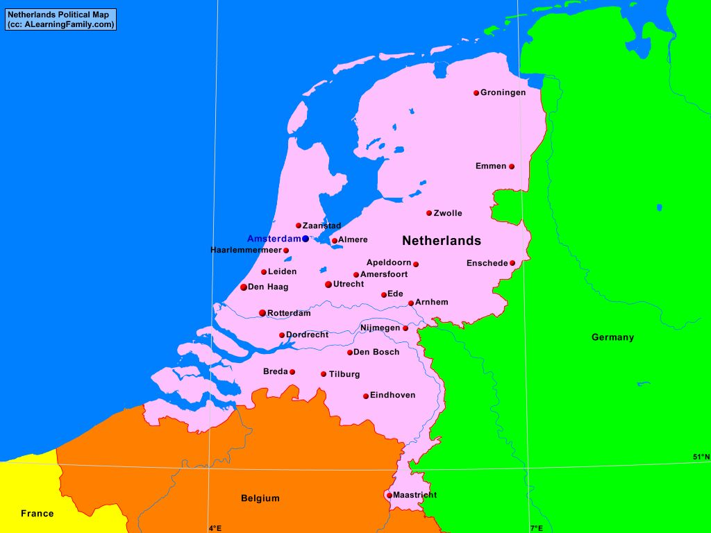 Netherlands Political Map - A Learning Family