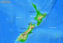 New Zealand physical map (cc: A Learning Family).