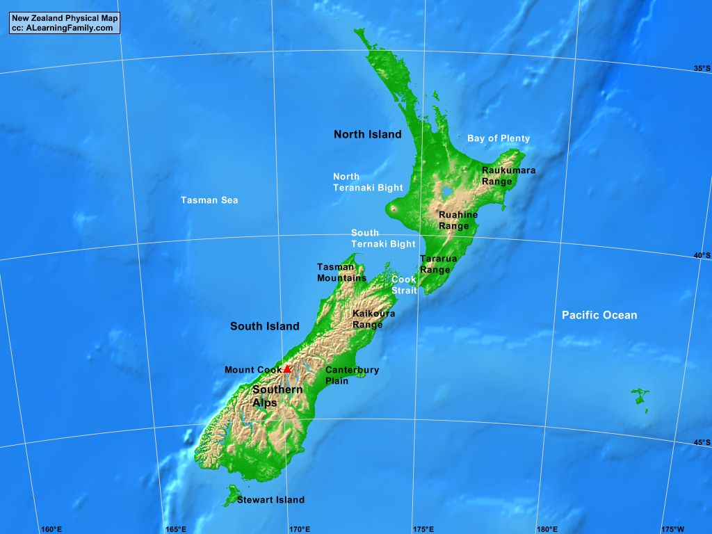 New Zealand Physical Map A Learning Family
