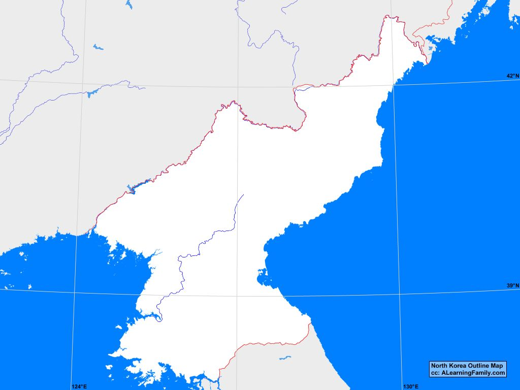 North Korea Outline Map A Learning Family