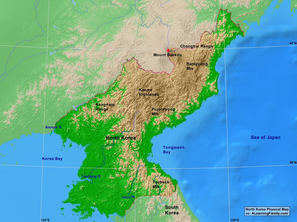 North Korea Physical Map
