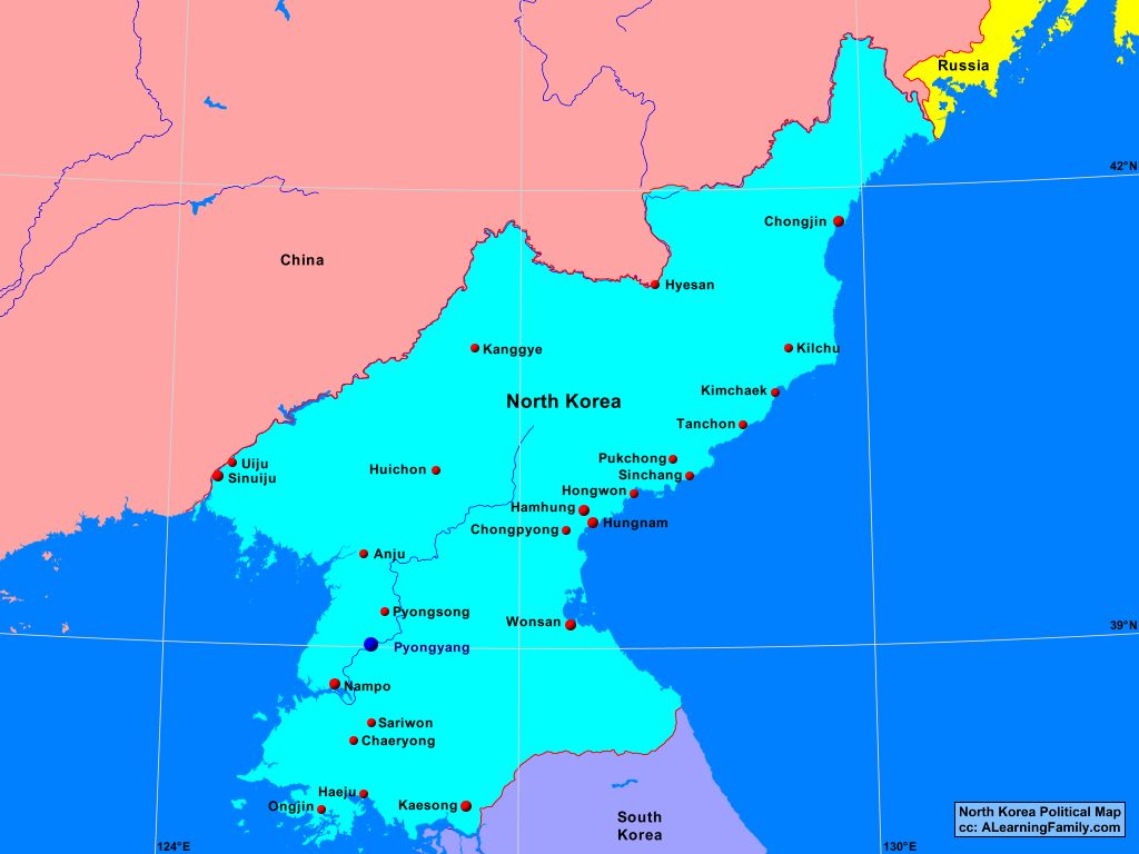 North Korea Political Map - A Learning Family