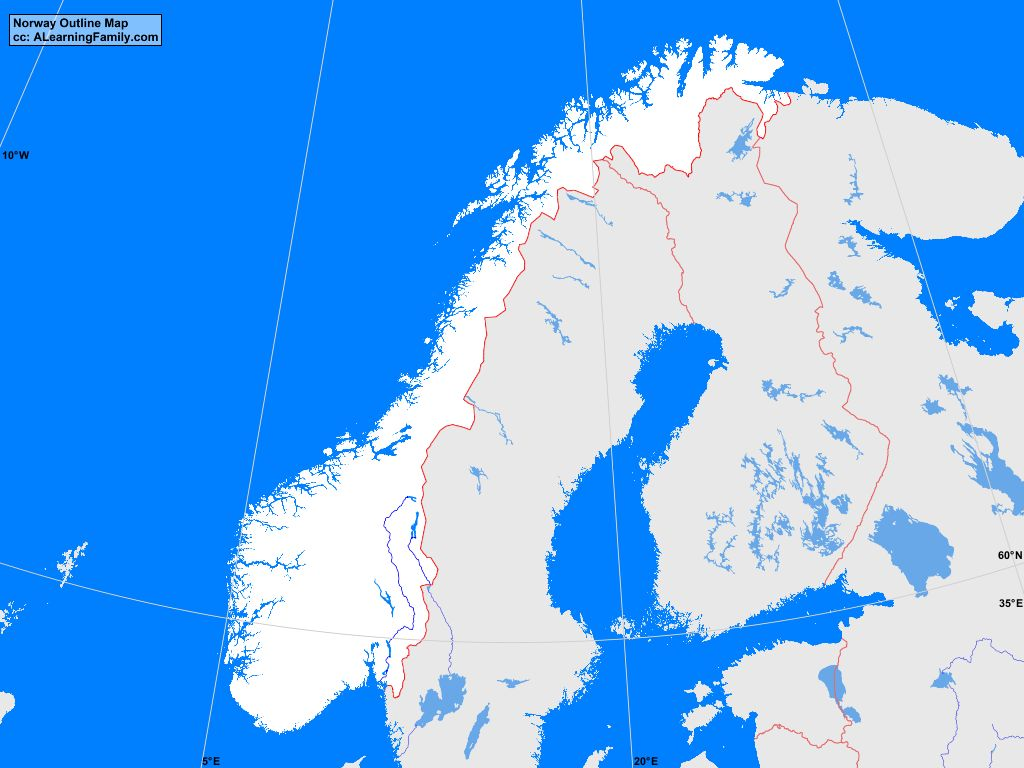 Norway Outline Map A Learning Family - Norway map outline
