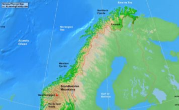 Norway physical map (cc: A Learning Family).