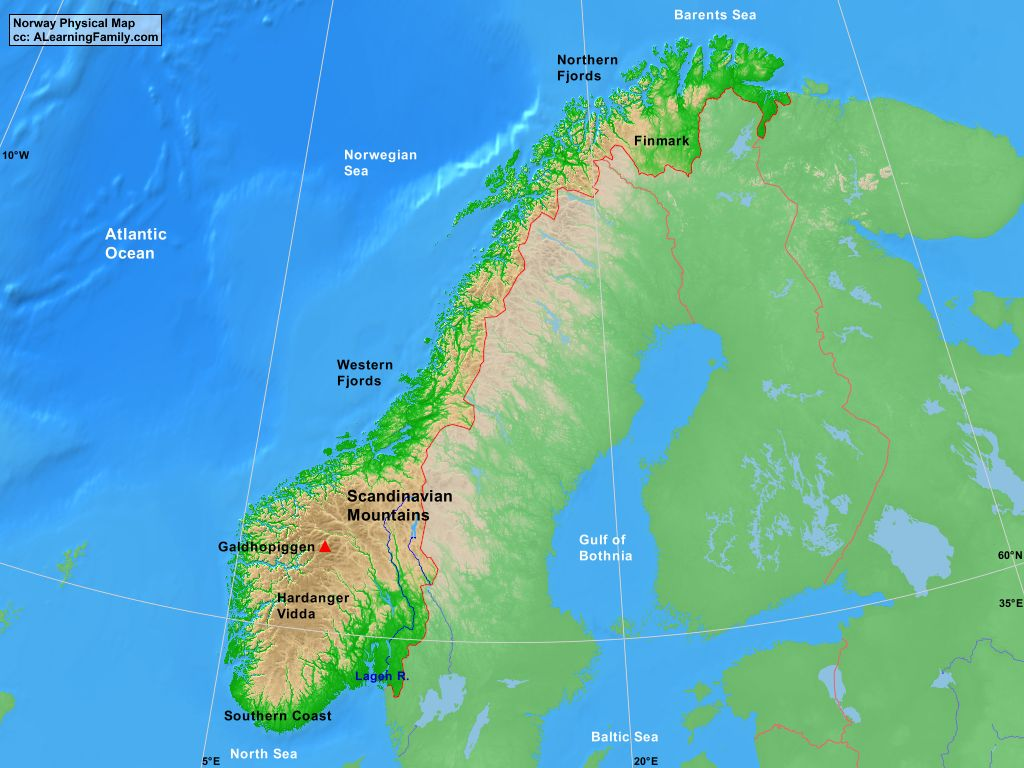 Norway Physical Map A Learning Family - Map of norway