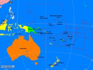 Oceania political map (cc: A Learning Family).