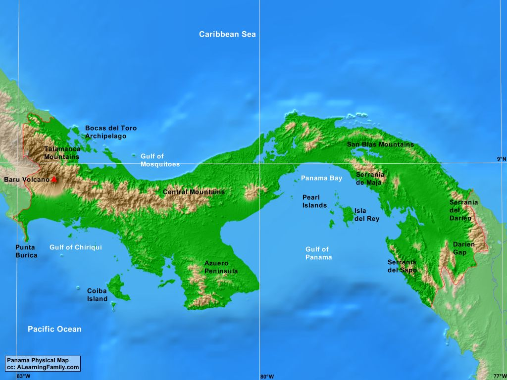 Panama Physical Map on Landforms Of The Earth