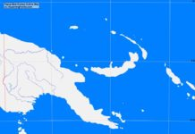 Papua New Guinea outline map (cc: A Learning Family).