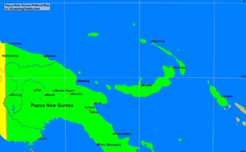 Papua New Guinea political map (cc: A Learning Family).