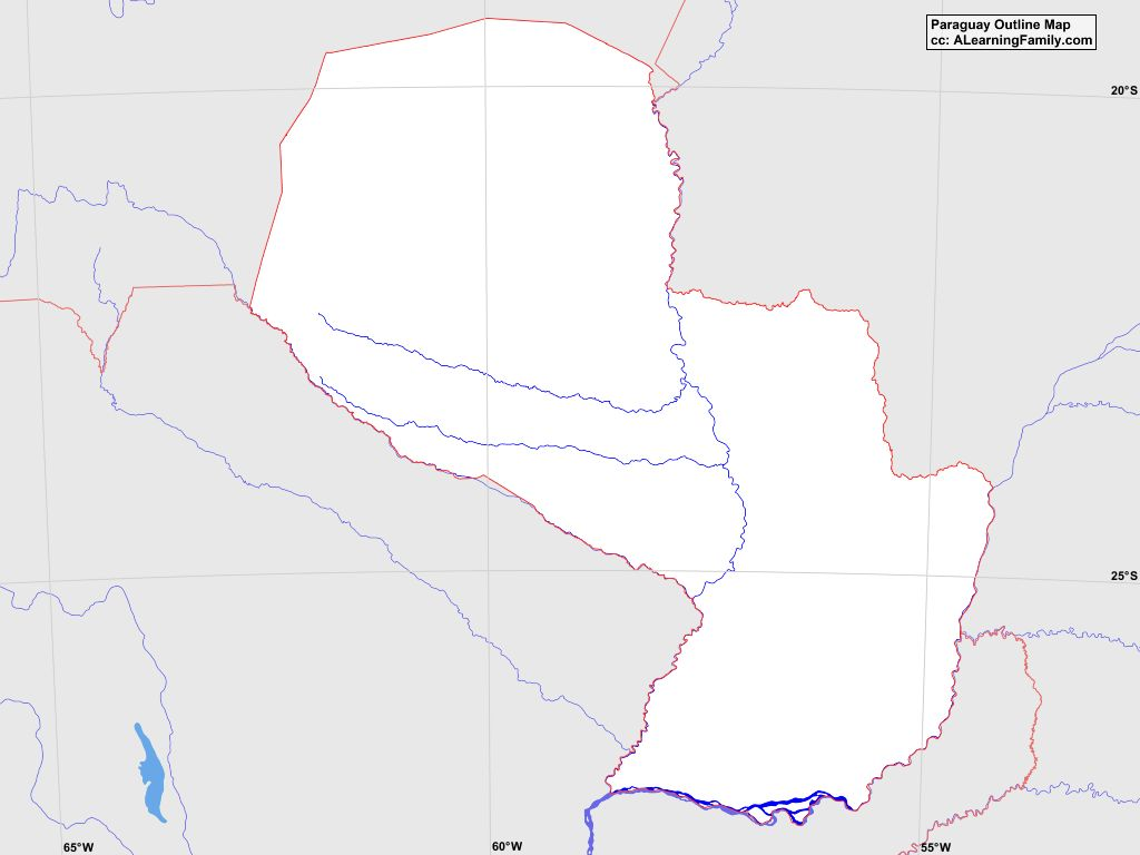 Paraguay Outline Map - A Learning Family