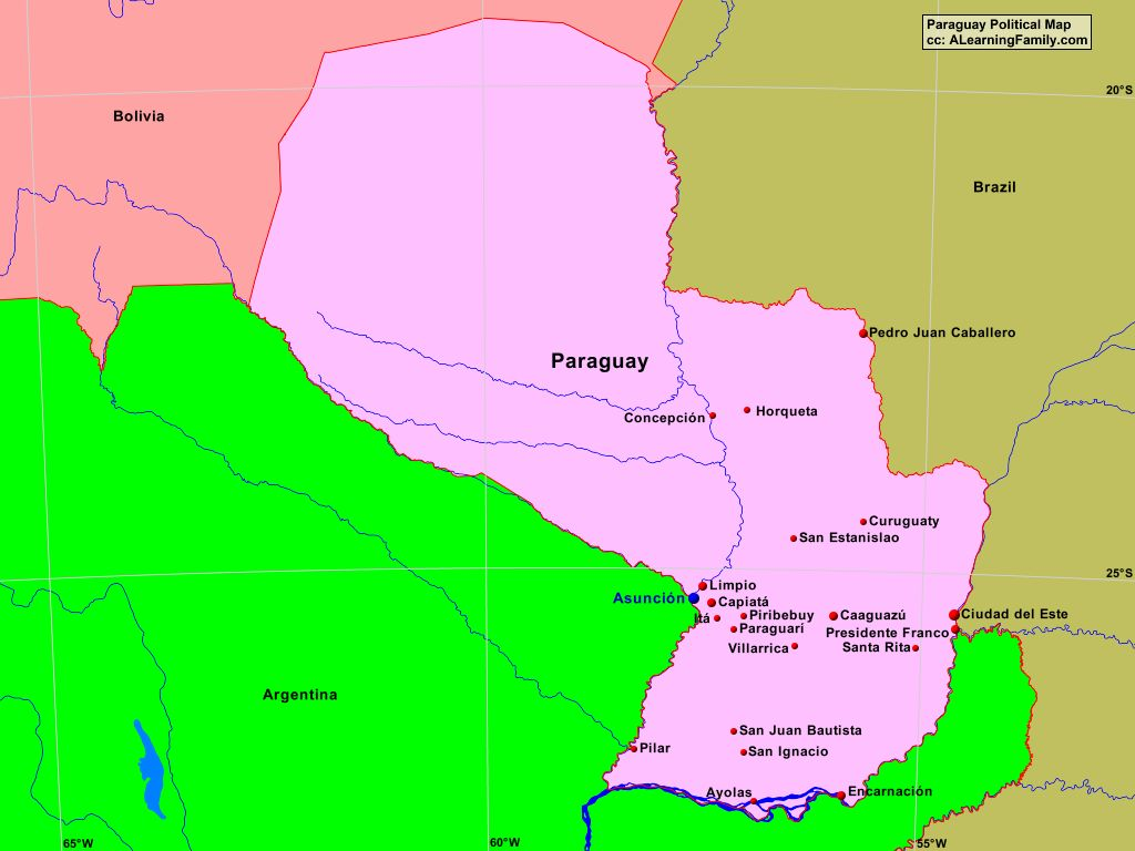 Paraguay Political Map - A Learning Family