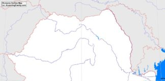 Romania outline map (cc: A Learning Family).