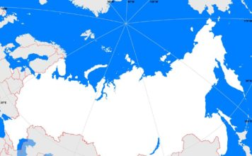 Russia outline map (cc: A Learning Family).