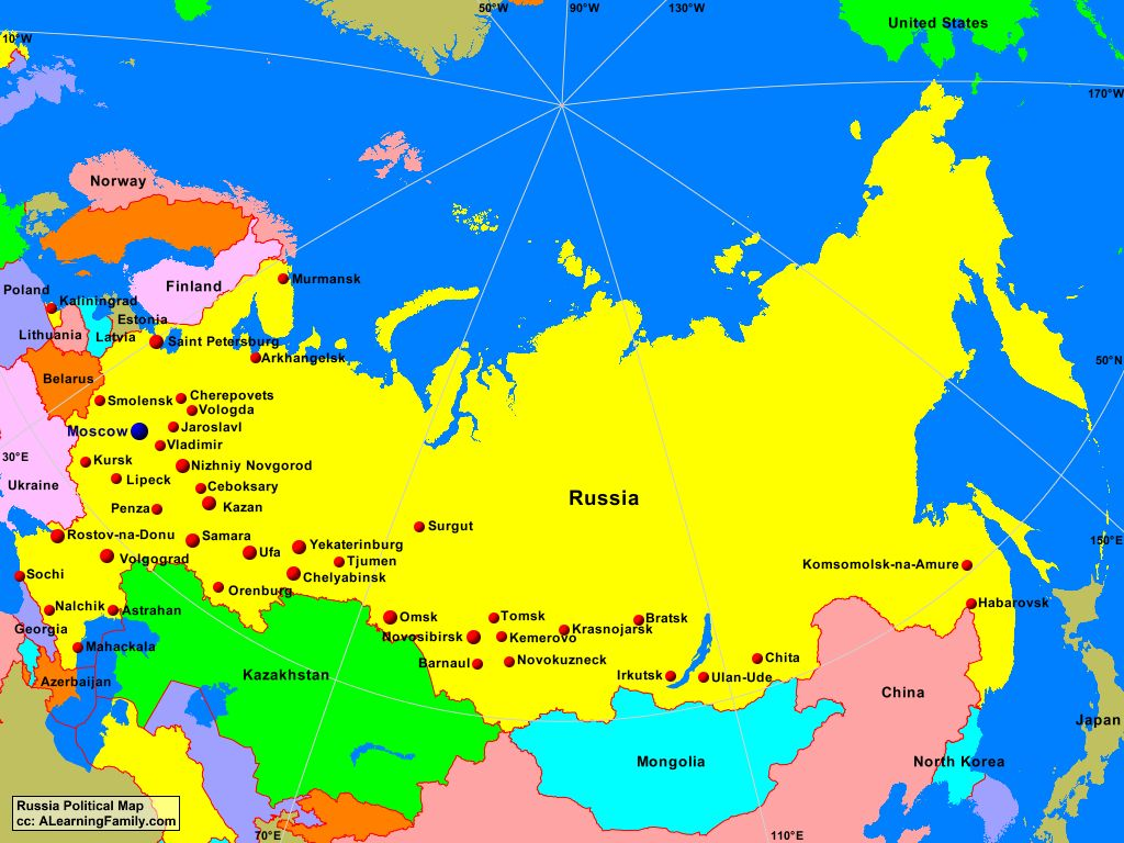 Russia Political Map - A Learning Family