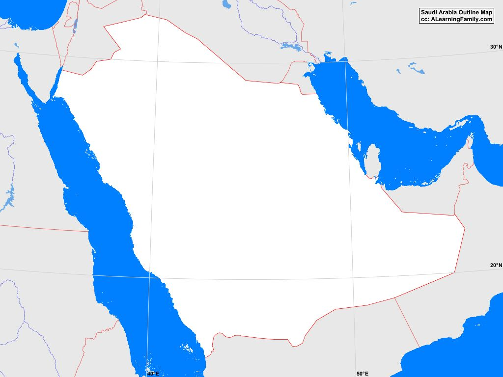 Saudi Arabia Outline Map A Learning Family