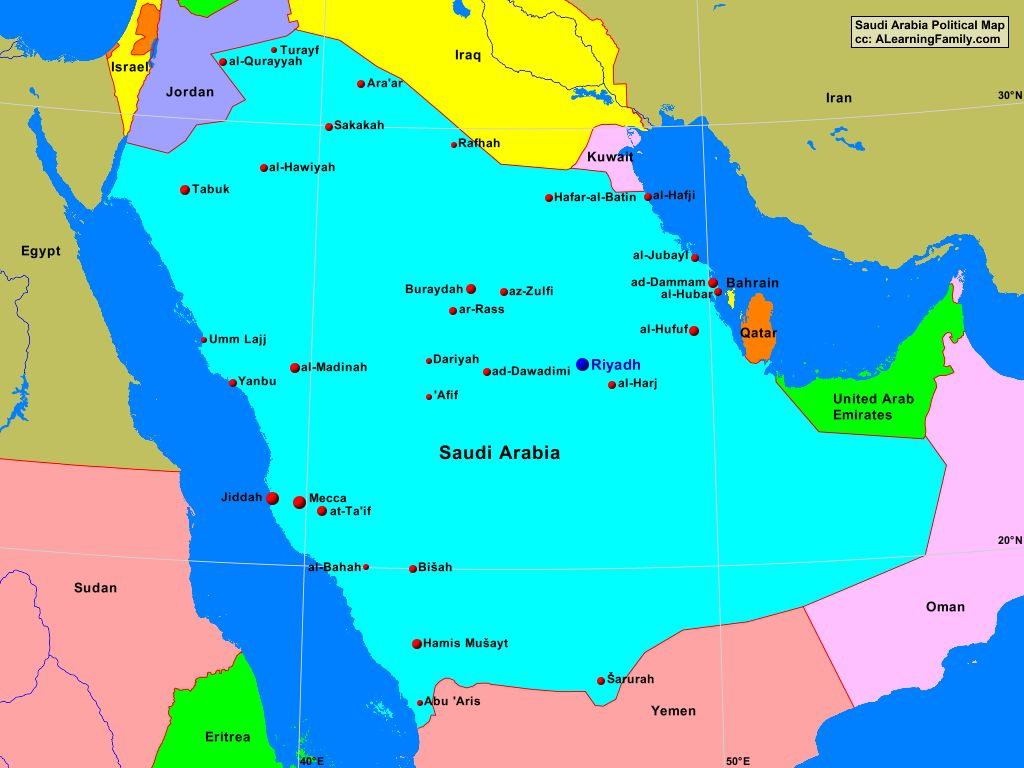 Saudi Arabia Political Map A Learning Family