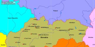 Slovakia political map (cc: A Learning Family).