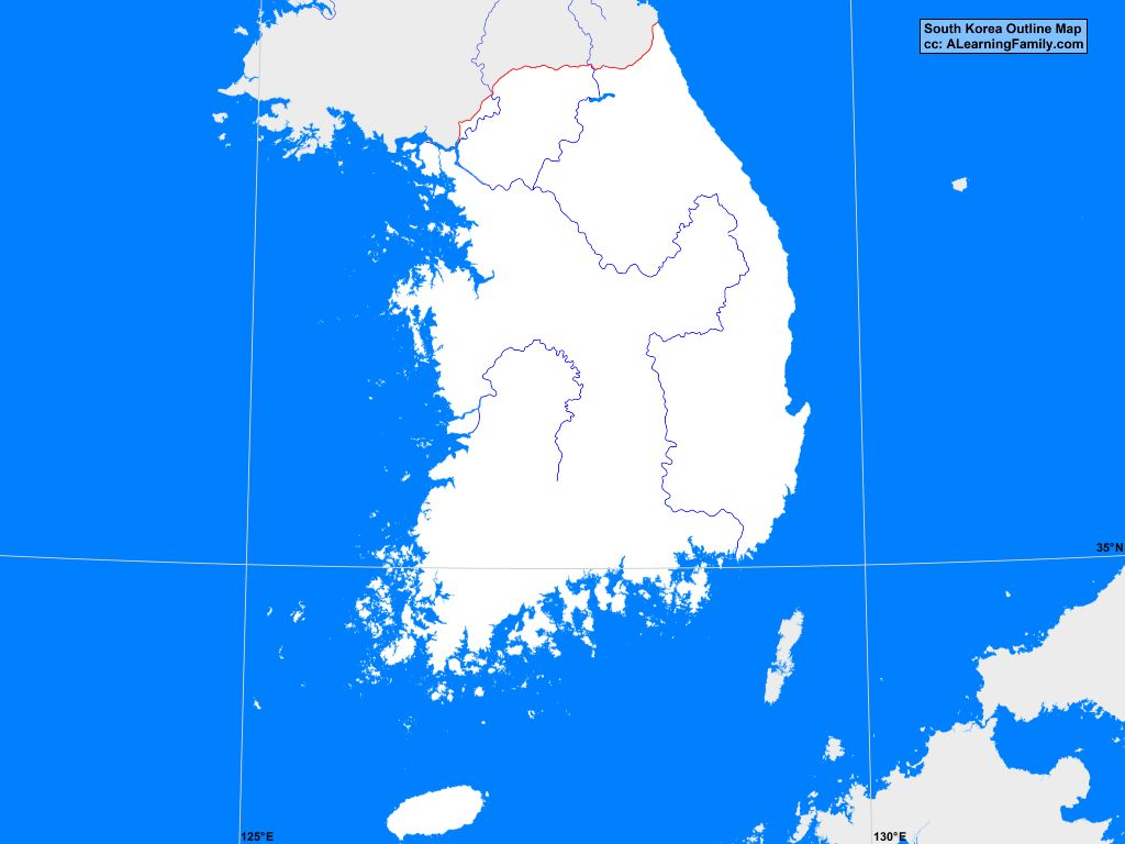 South Korea Outline Map A Learning Family