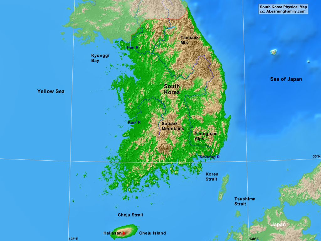 South Korea Physical Map A Learning Family - Map of south korea