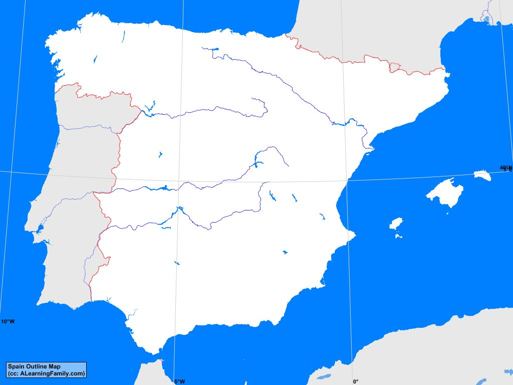 Map Of Spain Ebro River.Spain Outline Map A Learning Family