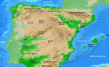 Spain physical map (cc: A Learning Family).