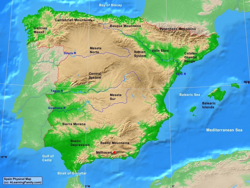 Map Of Spain Mountains.Spain Physical Map A Learning Family
