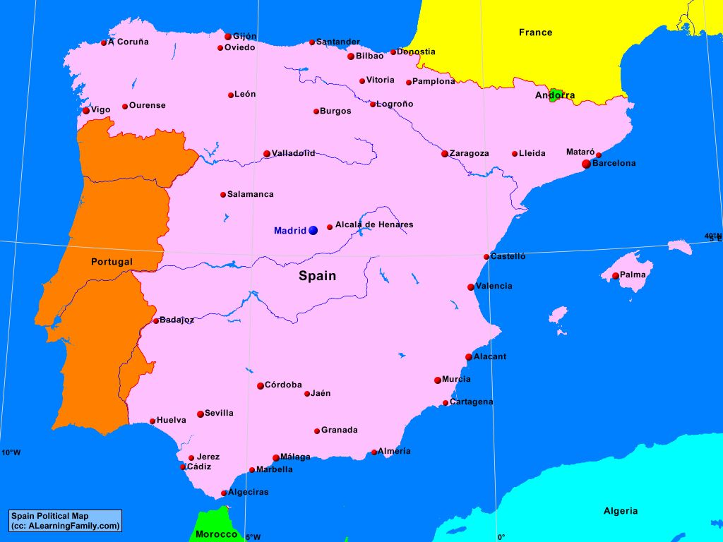 Spain Political Map A Learning Family