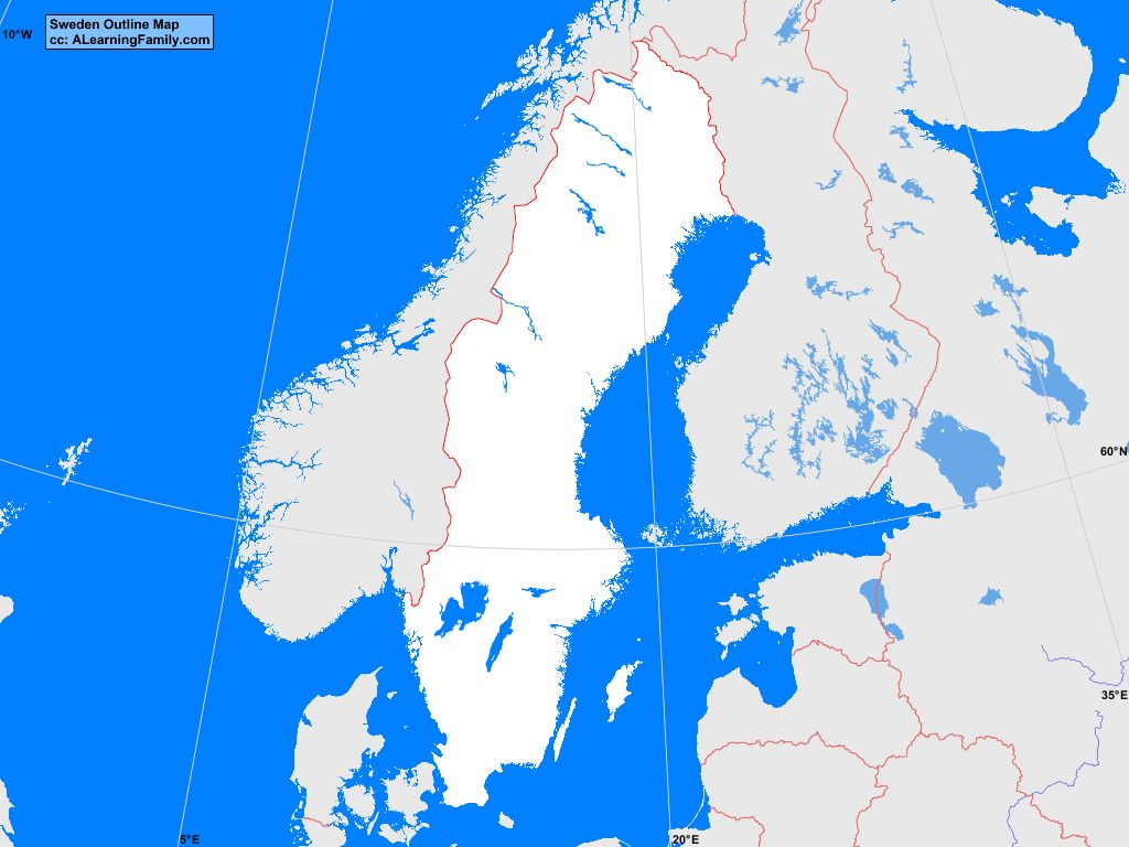 Sweden Outline Map A Learning Family - Sweden blank map