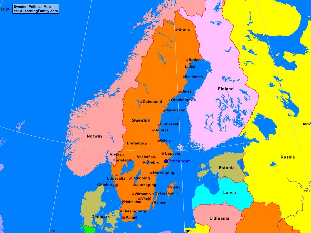 Sweden Political Map A Learning Family