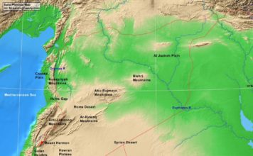 Syria physical map (cc: A Learning Family).
