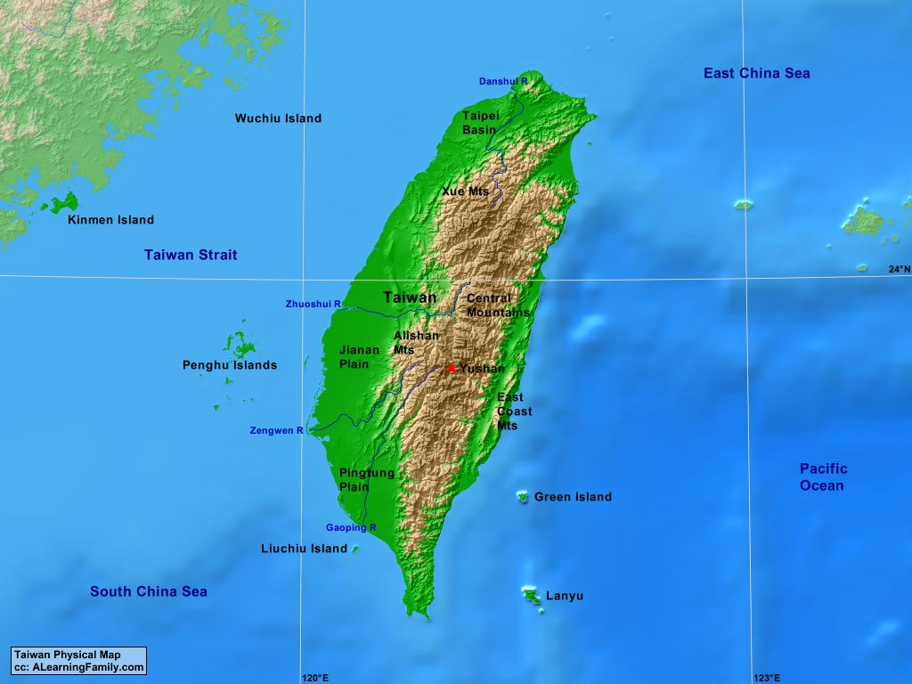 Taiwan Physical Map A Learning Family - Map of taiwan