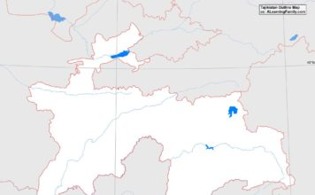 Tajikistan outline map (cc: A Learning Family).