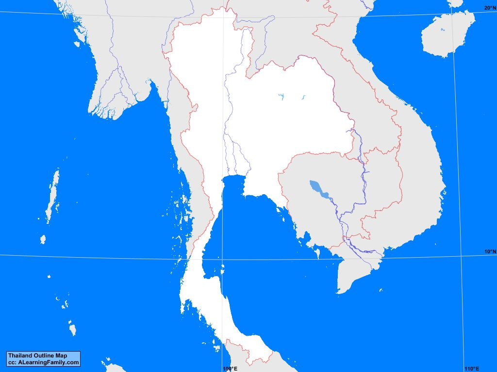 Thailand Outline Map A Learning Family - Thailand blank map