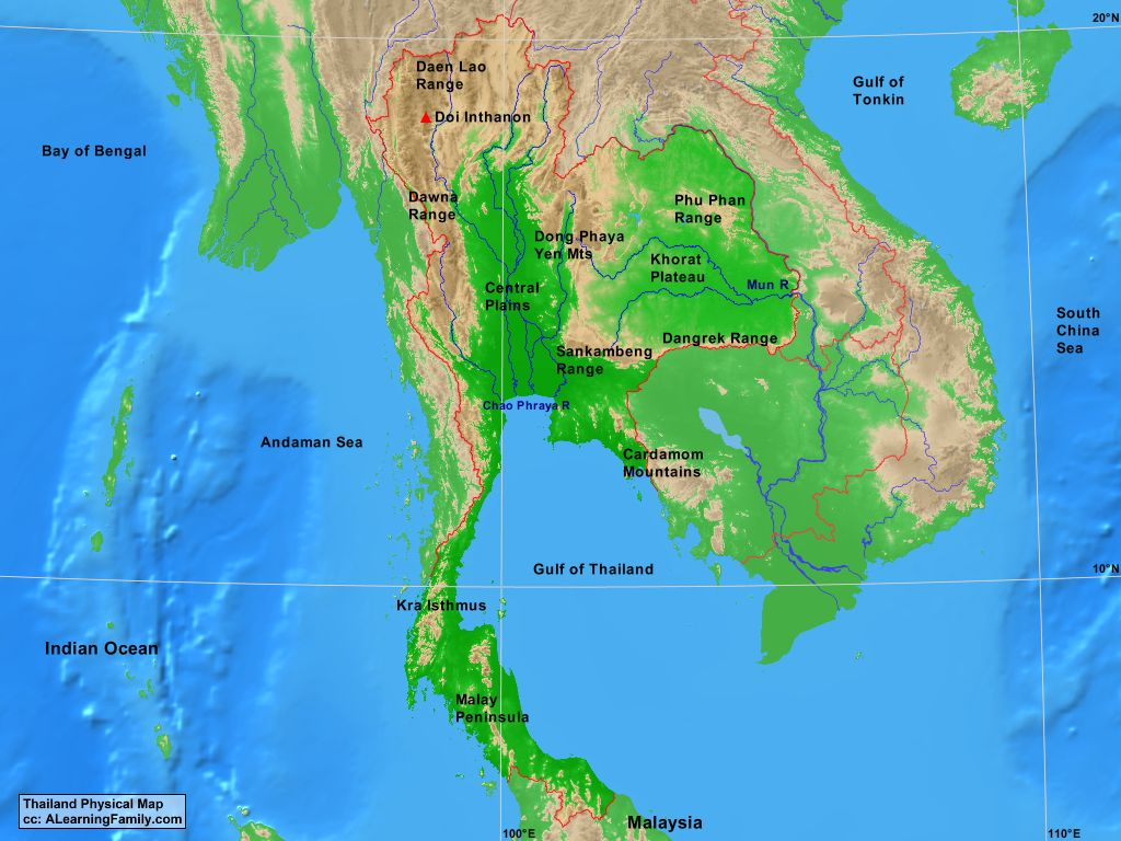 Thailand Physical Map A Learning Family