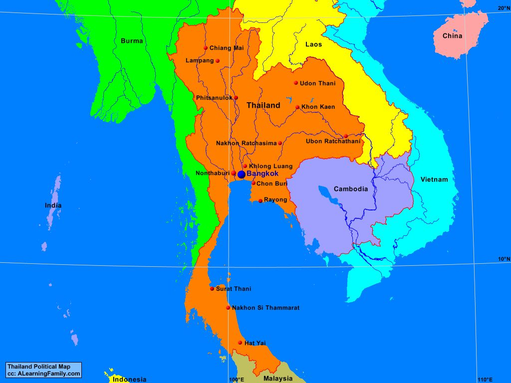 Thailand Political Map A Learning Family