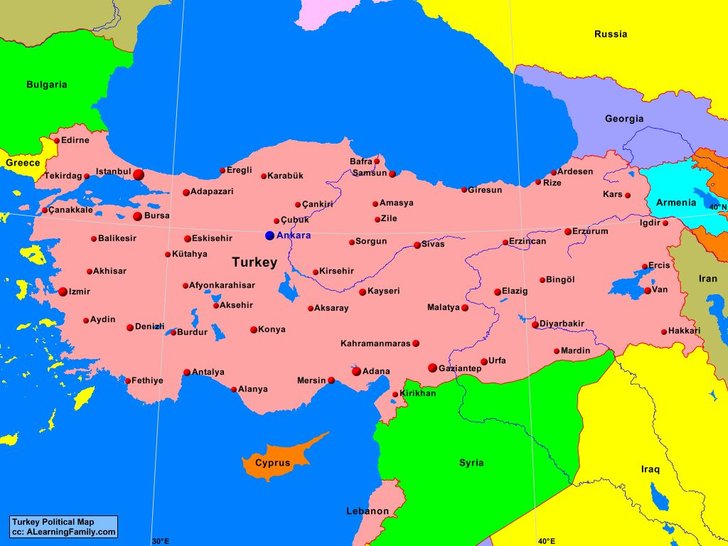 Turkey Political Map A Learning Family