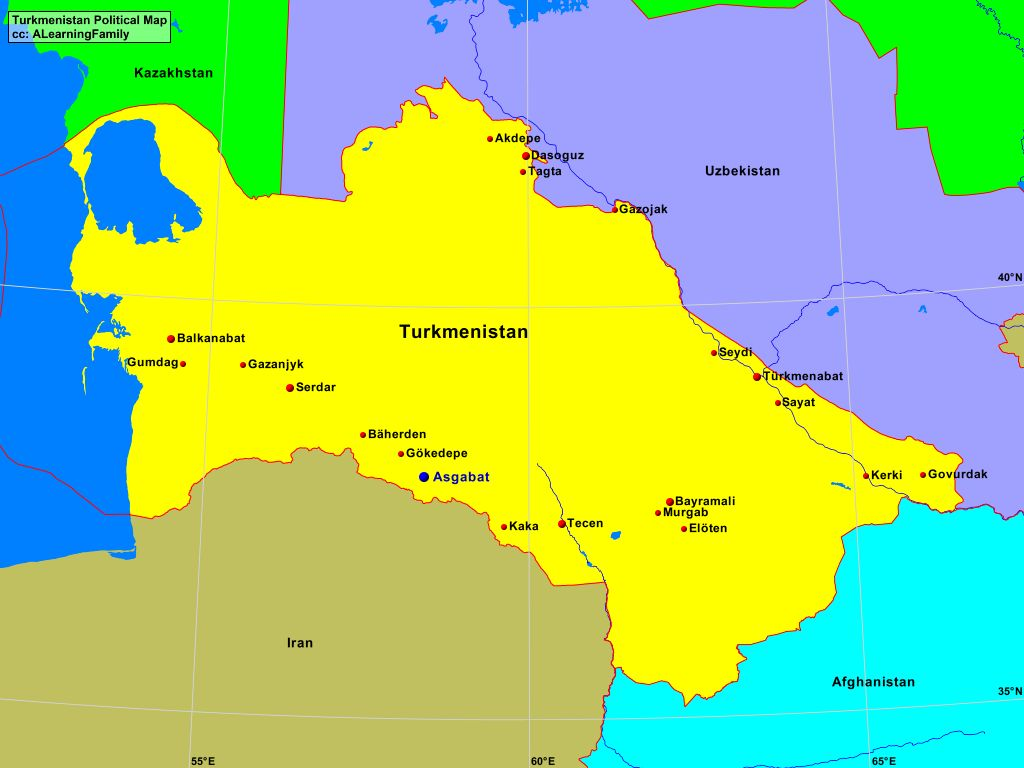 Turkmenistan Political Map A Learning Family
