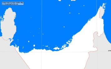 United Arab Emirates outline map (cc: A Learning Family).