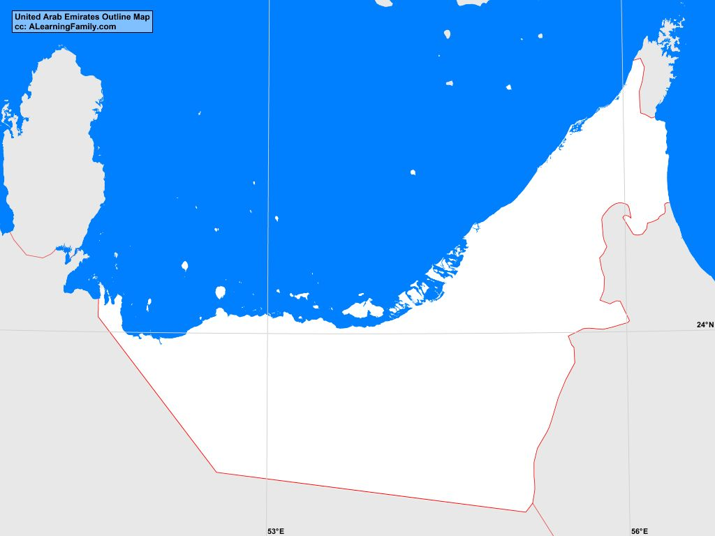 united arab emirates outline map cc a learning family