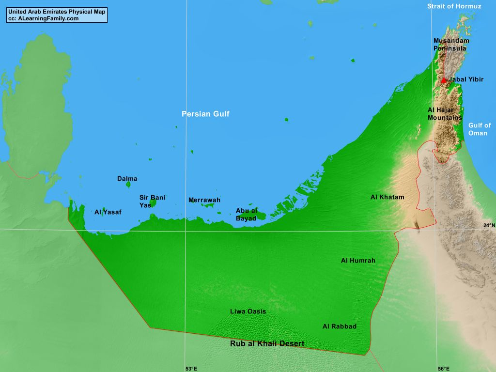 united arab emirates physical map cc a learning family