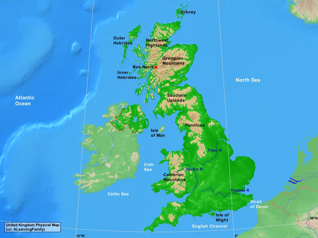 United kingdom physical map a learning family united kingdom physical map cc a learning family sciox Image collections