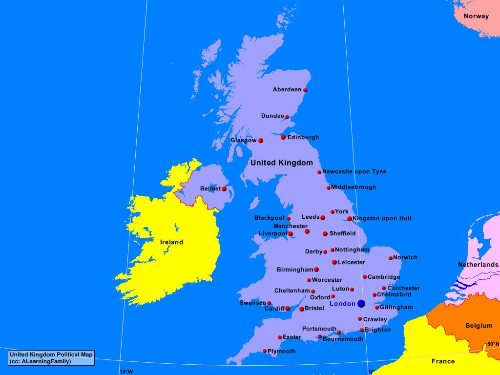 United Kingdom Political Map A Learning Family