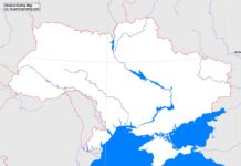 Ukraine outline map (cc: A Learning Family).